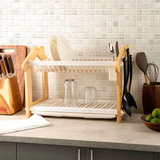 Alberto 2 Layers Rubber Wood Withplastic Dish Rack White