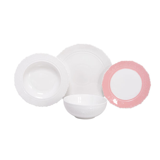 16 Pcs Dinner Set Lacy Pink & White image number 0