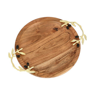 Wooden Round Dish With Olive Handle Large 25Cm