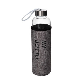 Alberto Glass Bottle With Linen Cover Grey Color V:600Ml