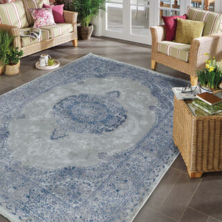 Cottage Silky Carpet Velvet Blue 80X150 Cm