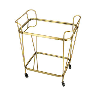 2 Tiers Metal Serving Trolley Gold