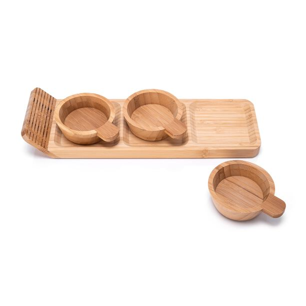 Alberto 3 Pieces Bamboo Dip Bowls With Tray image number 1