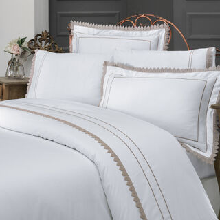 Boutique Balanch 5 Pieces Cotton Duvet Cover 300 Tc ,Ruche White 260X240 Cm King