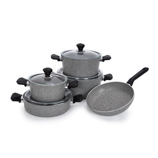 Pentola 9 Pcs Granite Cookware Set Blue 20-24-28 Pot, 26 Low Pot, 26 Frypan