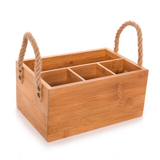 Alberto Bamboo Utensils Holder Box With Rope Handles