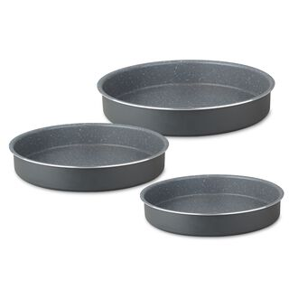 Alberto Round Forged Aluminum Roaster Set 3 Pieces Dark Grey