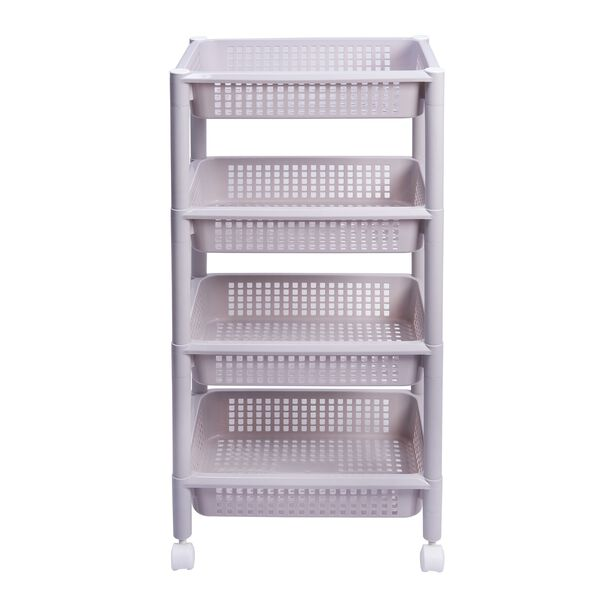 Kitchen Trolley Plastic 4 Layer With Wheels Silver Color image number 1