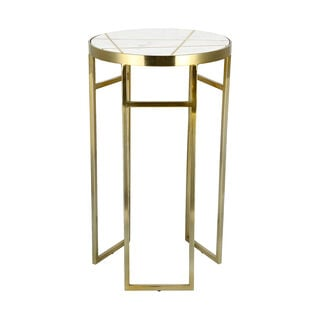 Side Table Round Marble And Metal White
