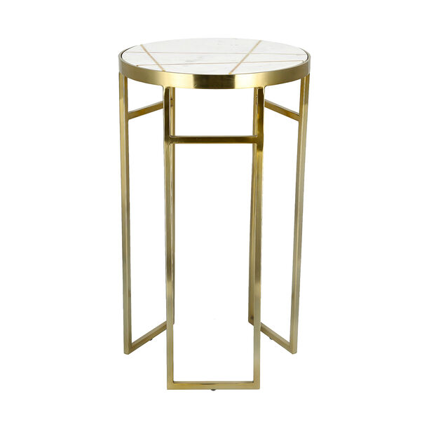 Side Table Round Marble And Metal White image number 0