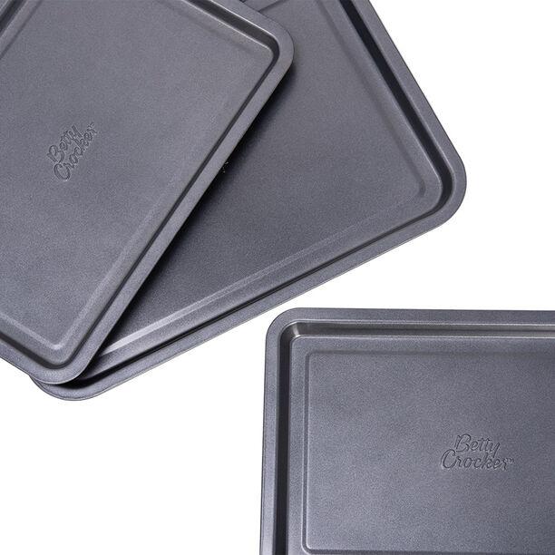 Betty Crocker Non Stick Rectangular Pan Set 3 Pieces Grey Color image number 2