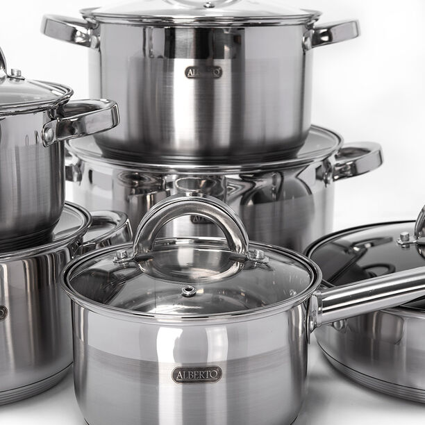 Alberto 12Pcs Stainless Steel Cookware Set image number 2