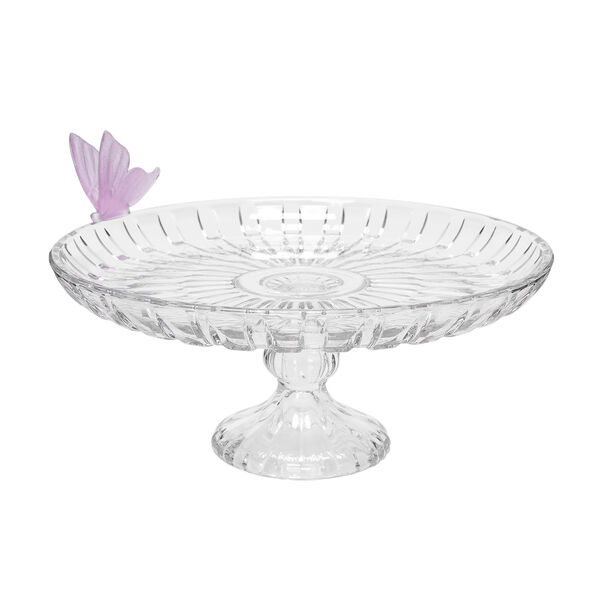 Glass Butterfly Cake Stand 1 Pc Crystal Pink image number 0