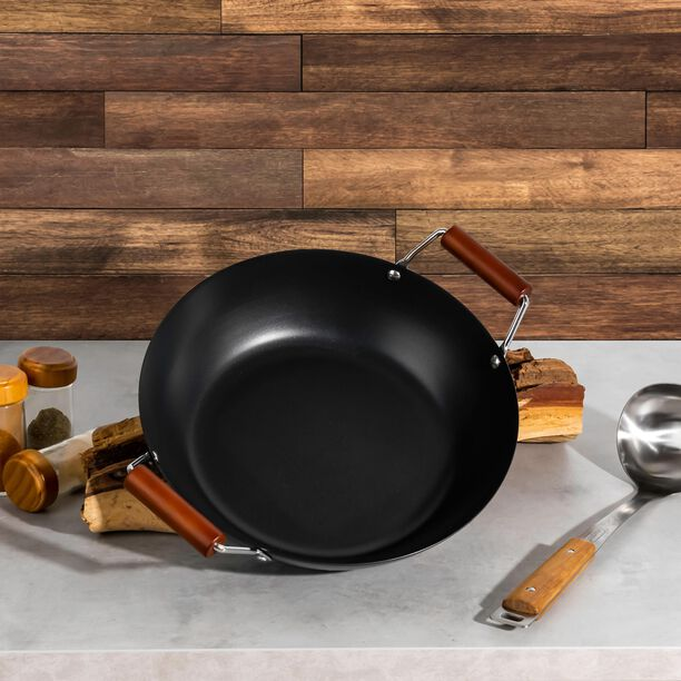 Non Stick Wok Pan With Wood Handle Round Shape Black image number 2