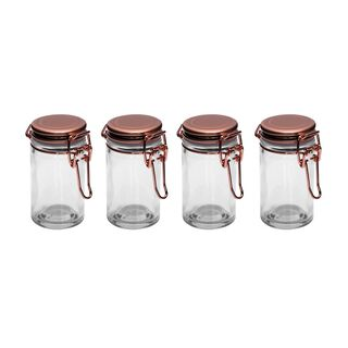 طقم برطمانات توابل زجاج 4 قطع بغطاء نحاسي من البرتو