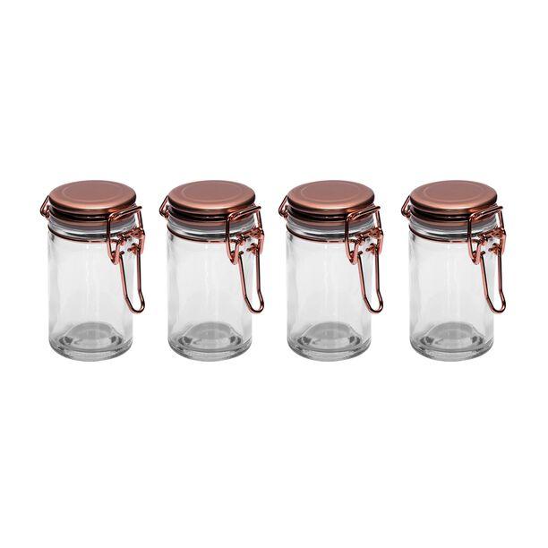 طقم برطمانات توابل زجاج 4 قطع بغطاء نحاسي من البرتو image number 0