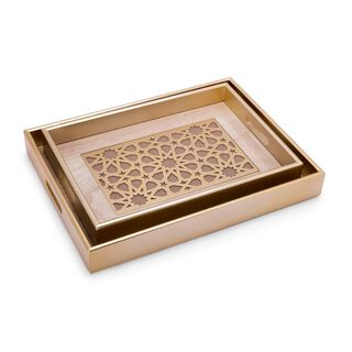 Wooden Tray Set With Glass 2 Pieces Gold Color