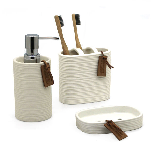 Stoneware Bath Set 3 pieces Ivory image number 1