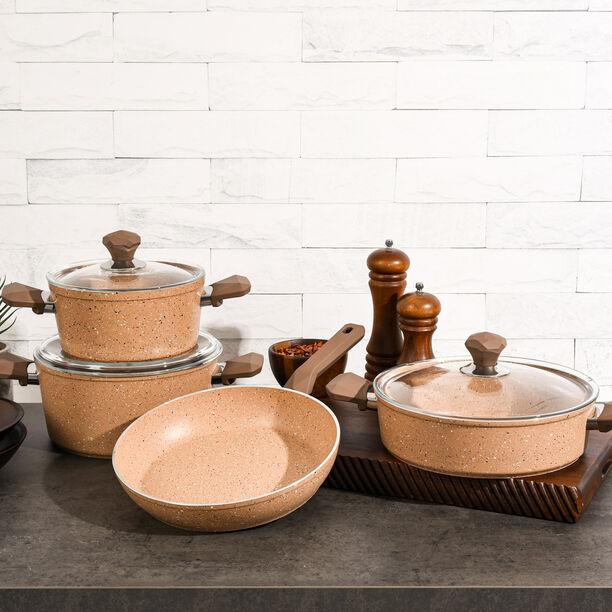 Pentola 7 Pieces Granite Cookware Set Brown image number 3