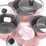 Alberto 8Pcs Cast Alumnium Cookware Set Of Casseroles W/ Glass Lid Pink image number 2