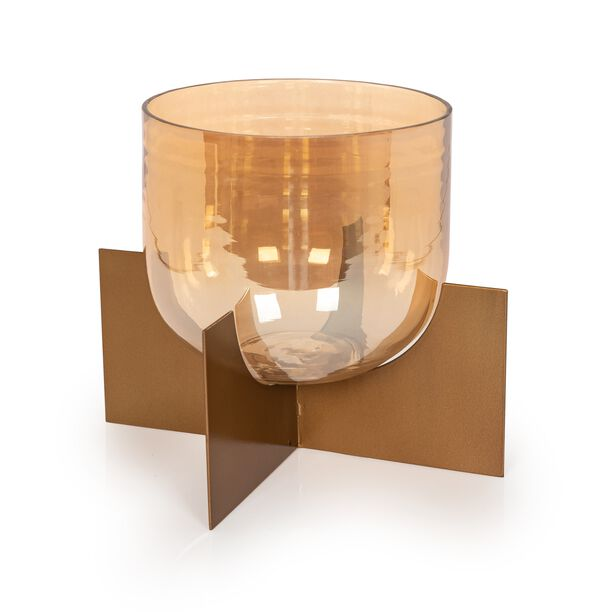 Metal And Glass Candle Holder With Base image number 0