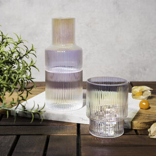 GLASS WATER JUG BEDSIDE AND TUMBLER WITH PEARL DECAL