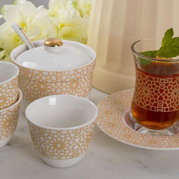طقم شاي و قهوة عربي 20 قطعة لون ذهبي/أبيض image number 2