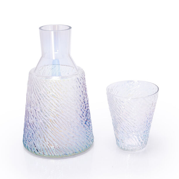 GLASS BEDSIDE WATER JUG AND TUMBLER HAMMERED WITH PEARL DECAL image number 0
