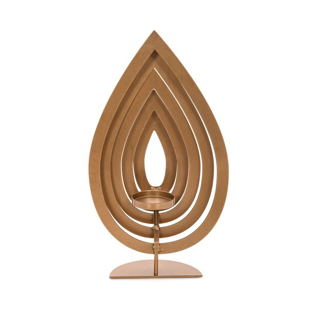Candle Holder Metal & Glass Gold  image number 1