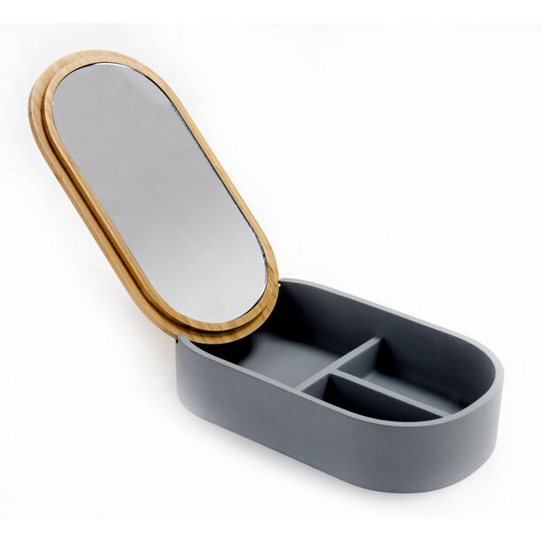 Glass Cosmetic Mirror W/ 1X Bamboo Lid & Polyresin Storage Box Size: 23X13.4X5.5Cm image number 0