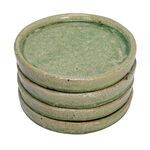 DECORATIVE PLATE CERAMI GREEN SET OF 4 17x17x2.5CM image number 1