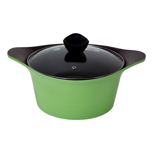 Alberto Cast Aluminium Casserole With Glass Lid Green image number 0