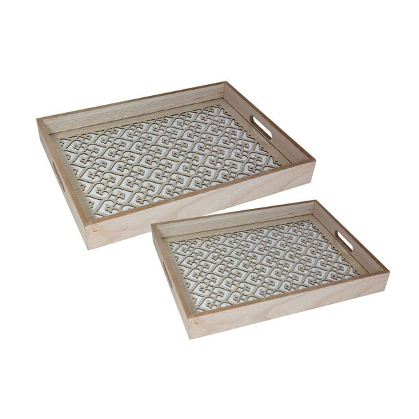 Wooden Tray Set 2 Pieces image number 1