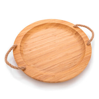 Alberto Bamboo Round Serving Tray With Rope Handles
