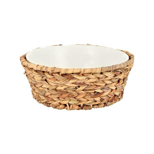Porcelain Round Salad Bowl With Rattan Basket image number 0