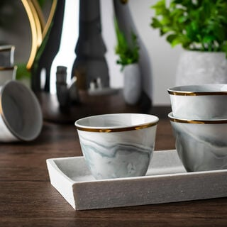 La Mes Grey Marble Arabic Coffee Set 12 Pieces With Gold
