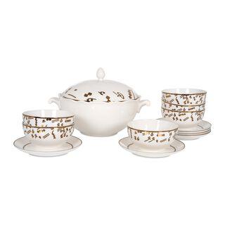 La Mesa Porcelain Soup Tureen Set 14 Pieces Gold