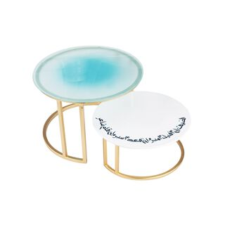 La Mesa Aqua Cake Stand Set 2 Pieces