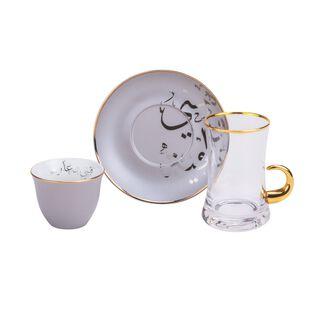 طقم شاي وقهوة بورسلان 18 قطعة هناء لون رمادي من لاميسا