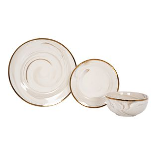 La Mesa 18 Pcs Porcelain Dinner Set Serve 6 Honey
