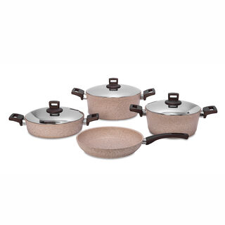 Alberto 7Pcs Granite Cookware W/ Ss Lid & Soft Handles Brownstone