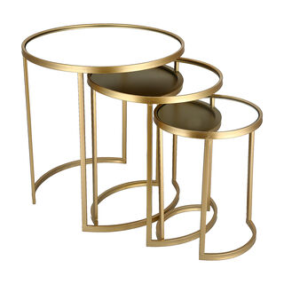3 Pcs Metal Round Side Table Mirror Top Gold