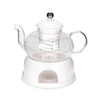ابريق شاي انجليزي مع سخّان فضي