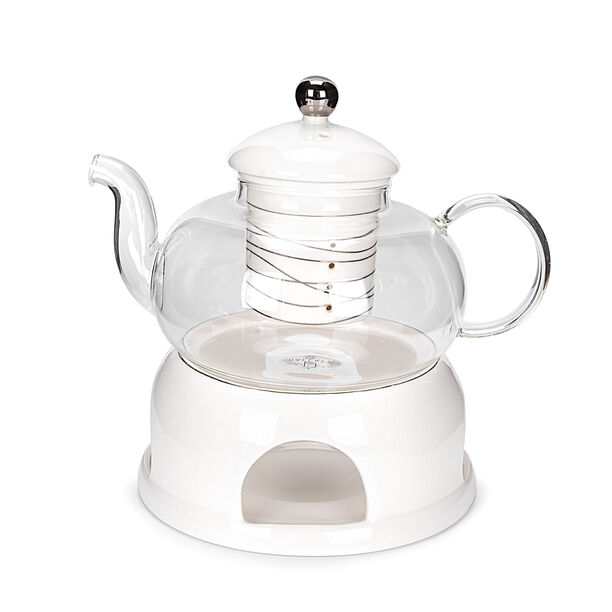 English Tea Pot With Warmer Inner Edg2 Silver image number 0