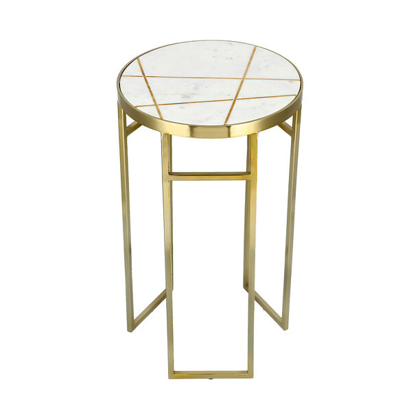 Side Table Round Marble And Metal White image number 2