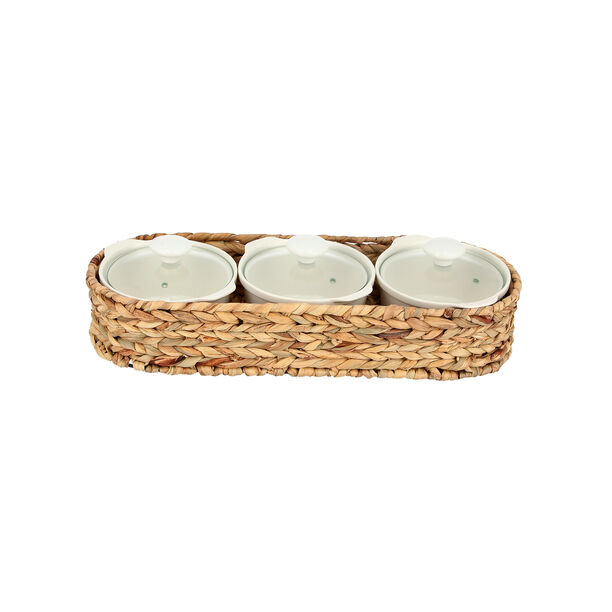 Porcelain 3Pcs Round Casseroles With Lid And Rattan Basket image number 0