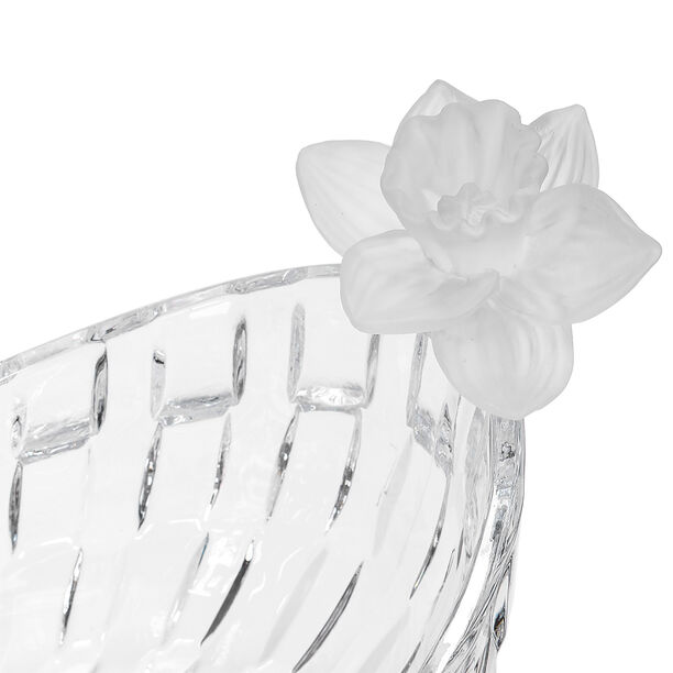 Glass Flower Fruit Bowl 1 Pc Crystal White image number 2