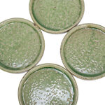 DECORATIVE PLATE CERAMI GREEN SET OF 4 17x17x2.5CM image number 2
