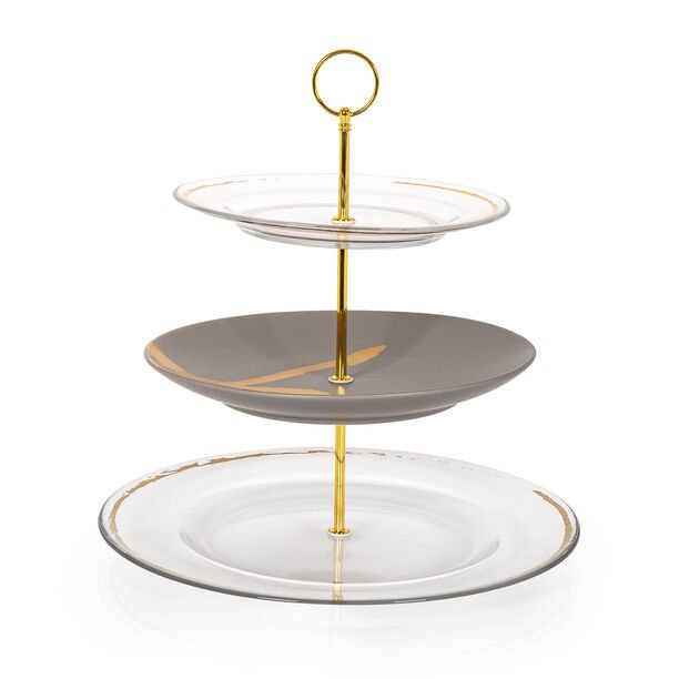 Gold Figure 3 Tier Cake Plate image number 1