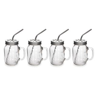 Alberto 4 Pieces Glass Mug Set With Metal Straw